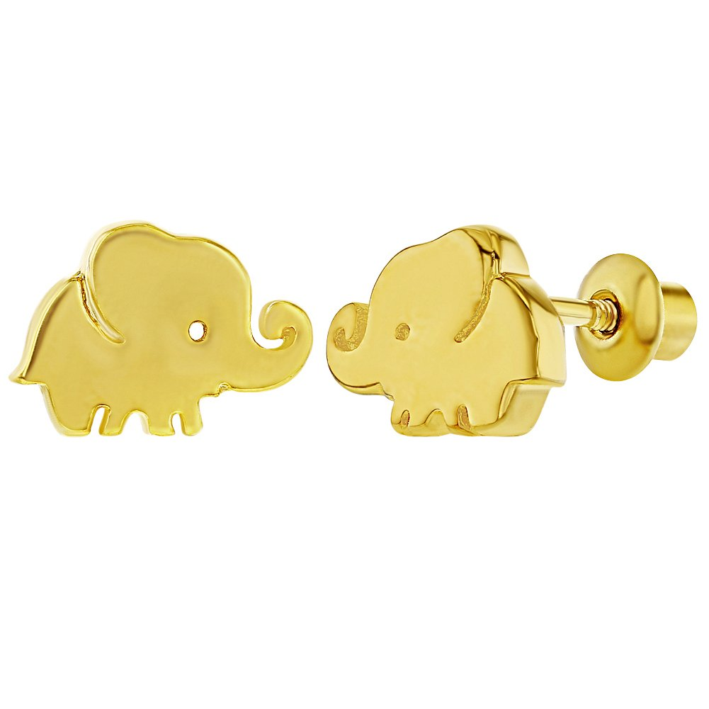 18k Gold Plated Tiny Elephant Prosperity Good Luck Screw Back Earrings Baby Girl In Season Jewelry 03-0896-CA