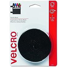 "Velcro 90086 Sticky-Back Hook & Loop Fastener Tape with Dispenser, 3/4"" x 5ft Roll, Black"