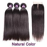 Shilinwei Brazilian Straight Hair Bundles With Closure Burgundy Ombre Human Hair Bundles With Closure Remy Hair 3/4 Bundles,16 18 20 22 & Closure14,Natural Color,Free Part