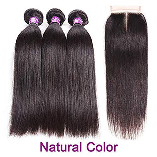 Shilinwei Brazilian Straight Hair Bundles With Closure Burgundy Ombre Human Hair Bundles With Closure Remy Hair 3/4 Bundles,16 16 18 & Closure14,Natural Color,Middle (Gothic Butler Costumes)
