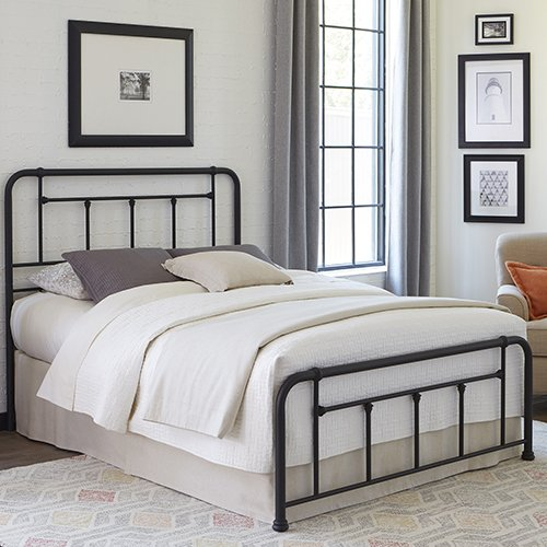 Textured Metal Frame (Baldwin Bed with Metal Posts and Detailed Castings, Textured Black Finish, Queen)