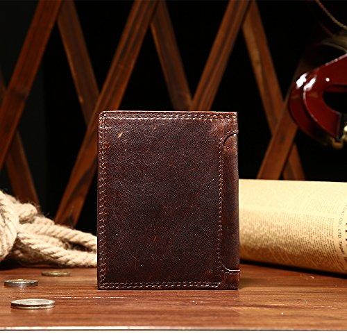 VANCOO Luxus Brown Leder 8-Karte Multifunktions -Geldbörse für Männer