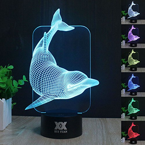 Price comparison product image 3D Night Light for Kids Dolphin Toy 7 Colors Change with Baby Night Light Lamp Kids Lamp Illusion Birthday Gift 3D Illusion Lamp Desk Table Lamp Optical Effect Lights As a Gift Idea for Girls and boys