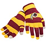Official NFL Football Licensed Knit Stripe Glove with Texting Tips, One Size, WASHINGTON REDSKINS
