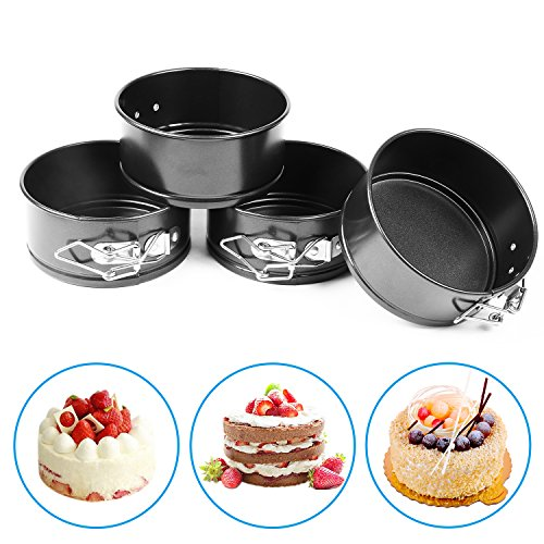 AFYHA 4-inch Mini Springform Pans, Set of 4 Carbon Steel Baking Pan / Non-stick Mini Cake Pans, Round Bakeware Set / Mini Cheesecake Pan with Removable Bottom by AFYHA (Image #3)