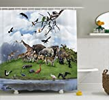 Ambesonne Wildlife Decor Shower Curtain, Tropic Animal Collage in The Valley with Lion Parrot Swans Elephants Flamingos, Fabric Bathroom Decor Set with Hooks, 70 Inches, Multi