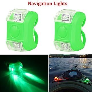 Botepon 2Pcs Boat Kayak Navigaton Light Safety Light Led Boat Light with 3 Modes for Riding Sailing Runing Climbing Green