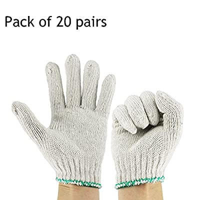 Ezyoutdoor 20 pairs White Factory Industry Knitted Cotton Work Protect Gloves,Elastic Cuff Beige Cotton Yarn Construction Site Work Gloves