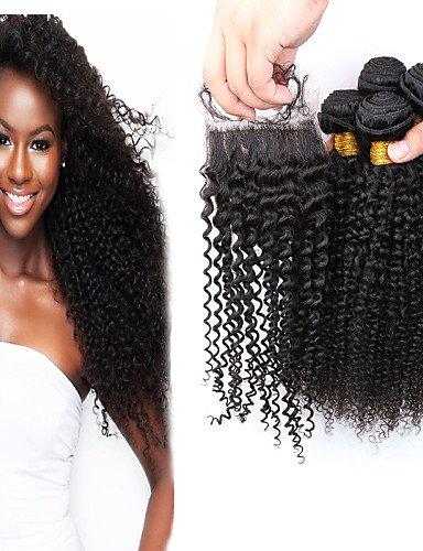 Brésiliens 10 Afro 8 Cheveux JffProduits Coquins 7a Grade Slove De 8 8 Bouclés Fermeture side Extensions Capillaires Faisceaux Avec 10 Part 4pcs Crépus Frisés À ymnwOv8N0