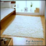 Soft Faux Fur - Sheepskin Area Rug - 5'x6' White Shag Rectangle Shag- Designer Throw - Bonded Ultra Suede Lining (5'x6', White)