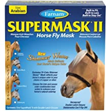 Farnam SuperMask II Shimmer Weave Horse Fly Mask, Arabian size, Copper Mesh with Black Trim
