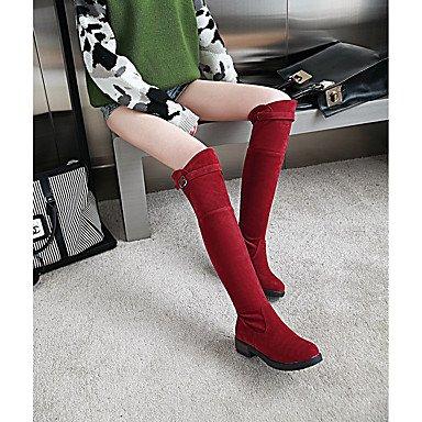 Perezoso EU39 Casual Invierno Rodilla CN39 Vestimenta Para Zapatos Puntera Botas Polipiel Redonda UK6 Beige Hebilla Botas De Sobre La Negro Rojo US8 RTRY Mujer Botas Otoño 4gYwf4OUq
