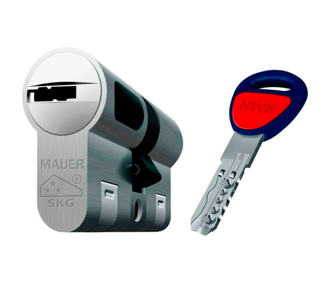 Bombin de seguridad MAUER NW5 31x31 color NIQUEL, reforzado, antirotura, antibumping, antitaladro, leva antiextracció n, cerradura para puerta, incluye 5 llaves el cilindro y tarjeta de seguridad leva antiextracción ASSA ABLOY