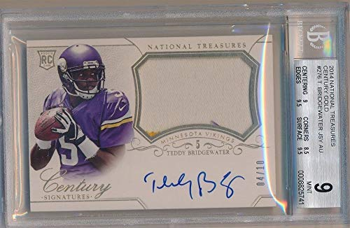 BIGBOYD SPORTS CARDS Teddy Bridgewater 2014 National Treasures RC Gold AUTO Patch SP #4/10 BGS 9 -
