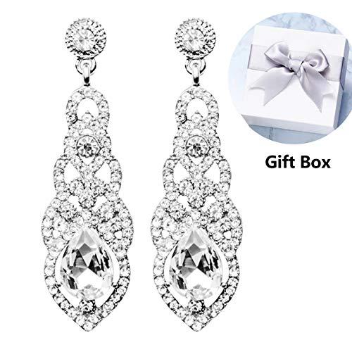 Dangle Earrings,Teardrop Crystal Full Rhinestone Design Diamond Earrings Drop Earrings for Women Girls,Gifts for Valentine