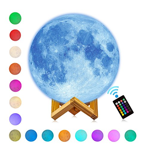 LOGROTATE Moon Light Lamps, 3d Printing LED 16 Colors Large Moon Lamp with Stand, Birthday Father's Day Gifts Decorative Lights with Remote & Touch Control and USB Recharge(Diameter 9.5 inch)