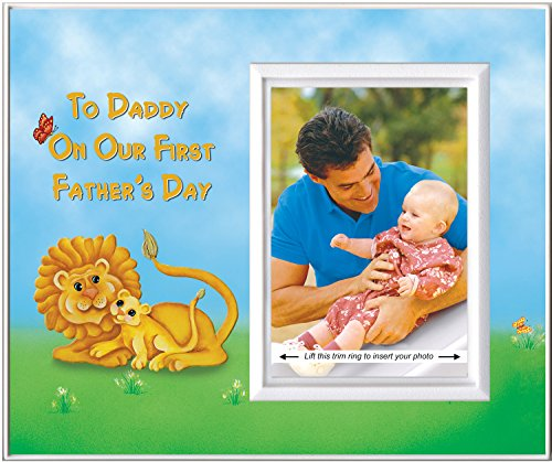 First Fathers Day Picture Frame Gift | Affordable, Colorful and Fun | Holds 3.5 x 5 Photo | Boy or Girl Nursery Decor | Dad and Baby Lion Theme | Innovative Front-Loading Design