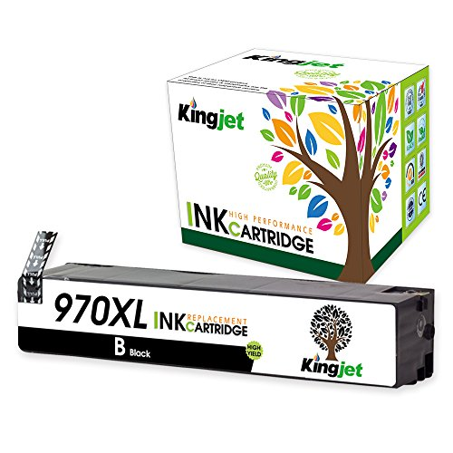 Kingjet 1 Pack 970XL Black Ink Cartridge CN625AM High Yield Compatible Replacement with Updated Chip for Officejet Pro X576dw X451dn X451dw X476dw X476dn X551dw Printers(1) by Kingjet