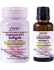 Zane Hellas FunguCept Advance.Solución de Reparación del Atleta.Alivia la picazón,el ardor,las grietas y las escamas.Detener el mal olor. esultados visibles en 5 días. 1 fl. oz - 30 ml y 60 cápsulas.