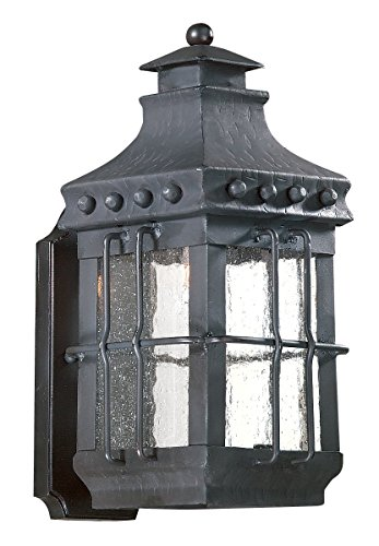 Troy Lighting Dover 1-Light Outdoor Wall Lantern - Natural Bronze Finish with Clear Seeded Glass