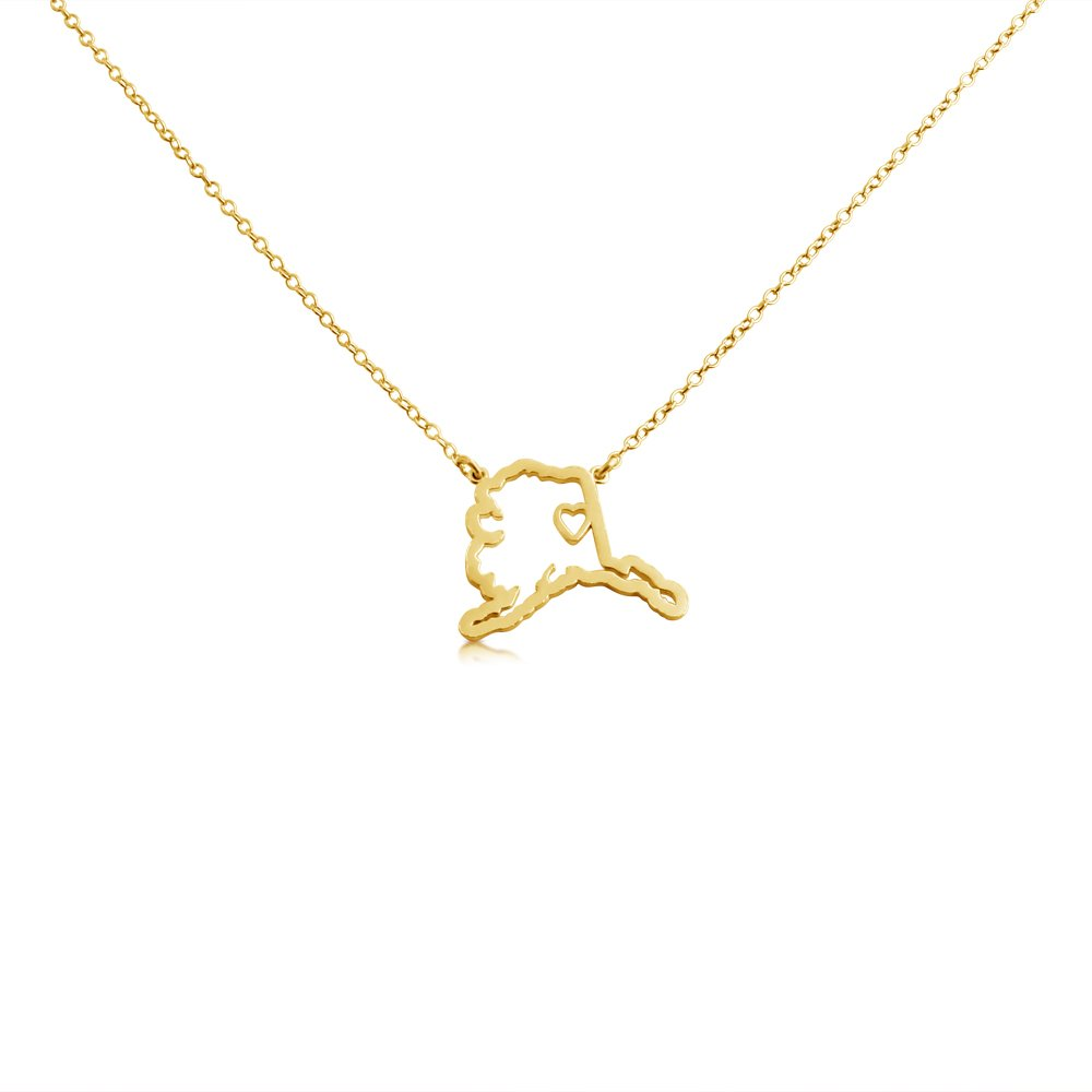 Home State Necklace Home is Where The Heart is Belcho USA 14k Gold Plated Over 925 Sterling Silver Small Alaska