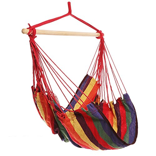 Large Brazilian Hammock Cotton Polyester Chair Extra Long Bed Hanging Swing Seat with Wood Stretcher for Yard,Bedroom,Porch,Beach,Indoor,Outdoor Capable of 330lbs Hammock Chair Porch Swing Rainbow