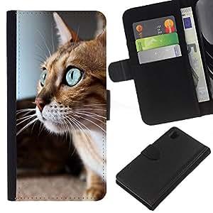 KLONGSHOP // Tirón de la caja Cartera de cuero con ranuras para tarjetas - Savannah Serengeti Ojos azules gato jugando - Sony Xperia Z1 L39 //