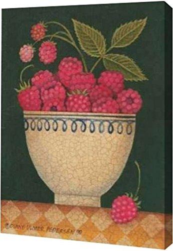 "PrintArt GW-POD-11-PED-066-9x12 ""Cup O Raspberries"" by Diane Pedersen Gallery Wrapped Giclee Canvas Art Print,,9"" X 12"""
