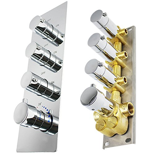 HOMEDEC Brass Concealed 3-Outlet Thermostatic Valve Shower Mixer with Round Knobs Chrome finish(Vertical installation, 4 Handles)