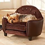 Enchanted Home Pet Ultra Plush Headboard Bed, 25.25 by 15.75 by 17.75-Inch, Pebble Brown For Sale