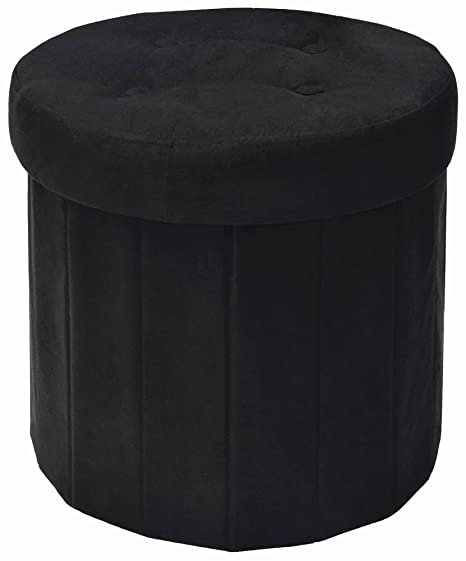 Marvelous Fresh Home Elements 250053 002 Round Storage Ottoman 15 By 15 By 15 Inch Black Microsuede Squirreltailoven Fun Painted Chair Ideas Images Squirreltailovenorg
