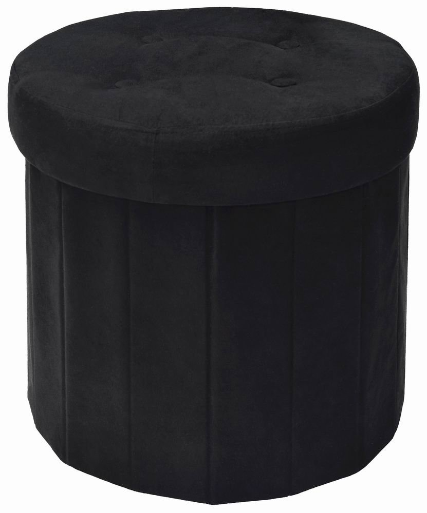 The FHE Group Fresh Home Elements Round Ottoman with Storage, Tufted Pouf Folding Foot Rest, Sturdy 200 lbs Weight Limit, Premium Faux Suede, Black