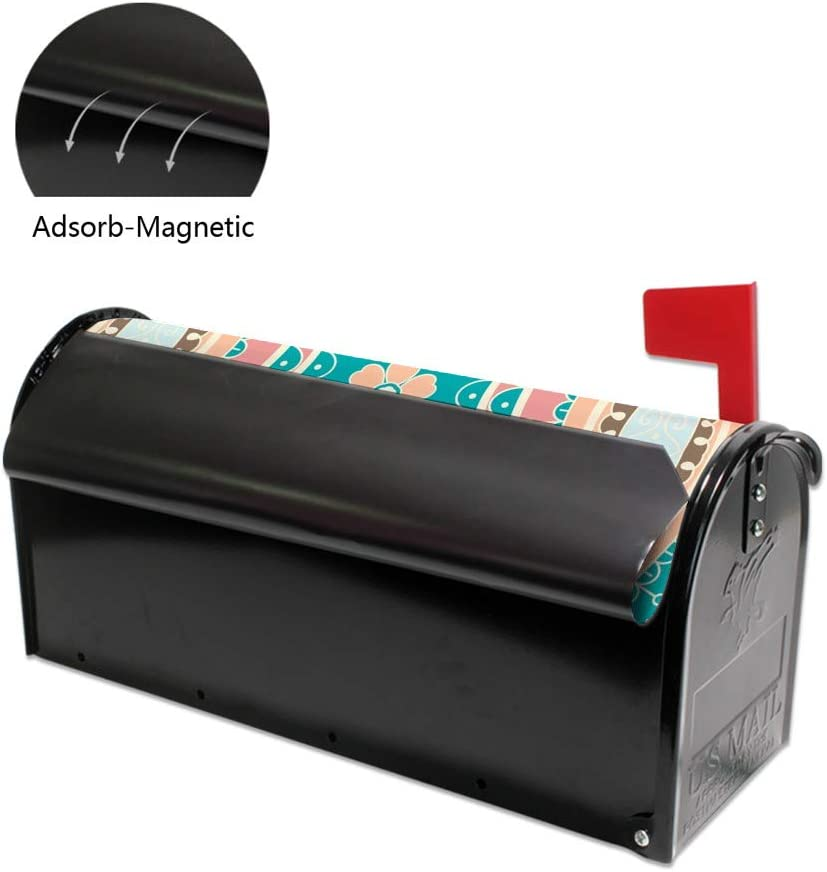 Kuizee Mailbox Covers Magnetic Turquoise Turkish Ornament Floral Mailbox Wraps Post Letter Box Cover Standard Size 21/×18 Inch