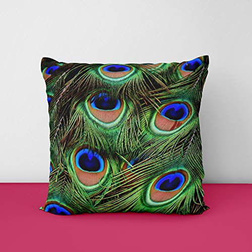 Peacock Fether's Square Design Printed Cushion Cover