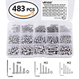 VANSSI 483Pcs 12 Sizes Screw and Nuts Kit,M2 M3 M4 Stainless Steel Assorted Hex Socket Head Cap Bolts Screws Nuts Assortment Set Kit with Hex Wrenches(Cylinder Head)