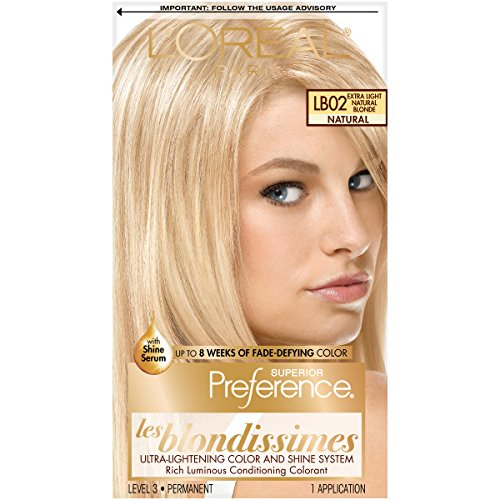 L'Oréal Paris Superior Preference Fade-Defying + Shine Permanent Hair Color, LB02 Extra Light Natural Blonde, 1 kit Hair Dye