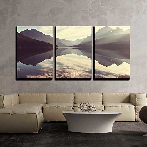 wall26-3 Piece Canvas Wall Art - Bowman Lake in Glacier National Park, Montana, USA - Modern Home Decor Stretched and Framed Ready to Hang - 16