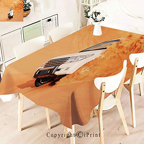 (Durable Rectangle Tablecloth Print Table Cover for Home and Party Decoration,Truck Pick Up Big Car with,Indoor Outdoor Party Picnic Easy Care Washable Table Cloth,W55 xL55,White Yellow)