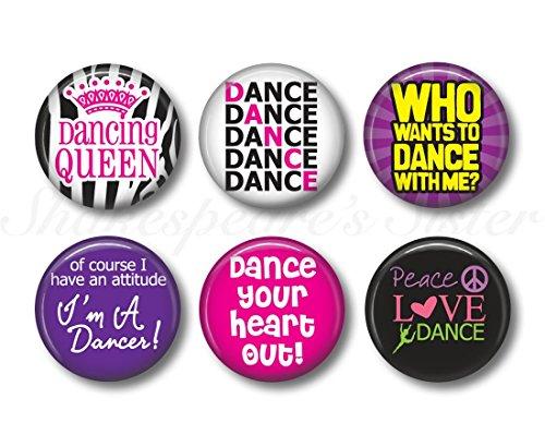 Dance Magnets - Fridge Magnets - Dance Mom - 6 Magnets - 1.5 Inch Magnets - Kitchen (Dance Refrigerator Magnet)