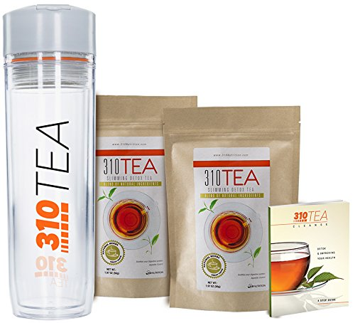 Detox Tea, 28 Servings 2 Pack | 310 Tea Fights Bloating and Appetite Suppressant, Increases Metabolism | Organic Green Tea With Yerba Mate, Guarana, Ginger, and Many More | Free Tea Tumbler and eBook