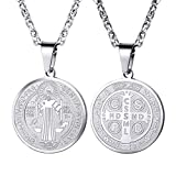 PROSTEEL Saint Benedict Cross Religious Medal Pendant Necklace Catholic Gift Vintage French Round Talisman Amulet Stainless Steel Men Women Jewelry