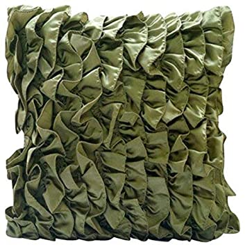 The Homecentric Olivgrün Dekorative Kissenbezug Vintage Style Rüschen Shabby Chic Kissenbezüge 40x40 Cm Satin Werfen Kissen Decken Solide