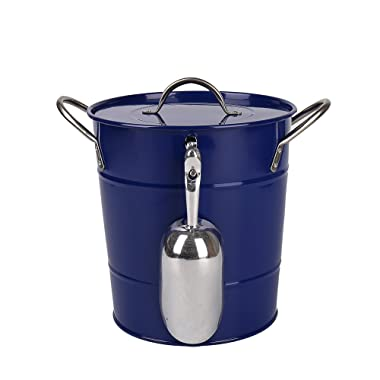 Hot Sale T586 Blue 4L Metal Double Walled Ice Bucket With Lid And Scoop