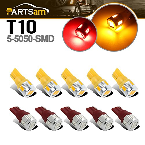 Partsam 10x Roof Top Cab Marker 5730-SMD RED/AMBER LED Bulbs for 03-09 Hummer H2 SUV - Led Hummer Roof H2