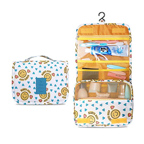 Prospo Large Hanging Toiletry Bag Waterproof Cosmetic Bag Makeup Travel Pouch Purse Organizer Wash Gargle bag for Boys Girls Women Men with Sturdy Hook(Yellow smiley face)