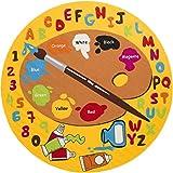Mybecca Kids Rug Kids ABC Little Artist area rug Educational Alphabet Letter & Numbers (7' 6'' Diameter Round)