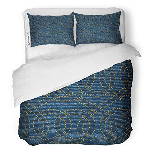 Semtomn Decor Duvet Cover Set Twin Size Yellow Pattern Embroidered on Blue Denim Western Abstract Celtic 3 Piece Brushed Microfiber Fabric Print Bedding Set Cover