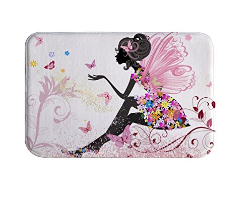 Pink Bathroom Rug, IMEI Asian Style Flannel Soft Washable Comfort Rug Multi-use Doormat in Bathroom, Kitchen,Toilet Floor, Laundry 16X24 Inch (Pink Girl with Butterflies) - Butterfly Bath Rug