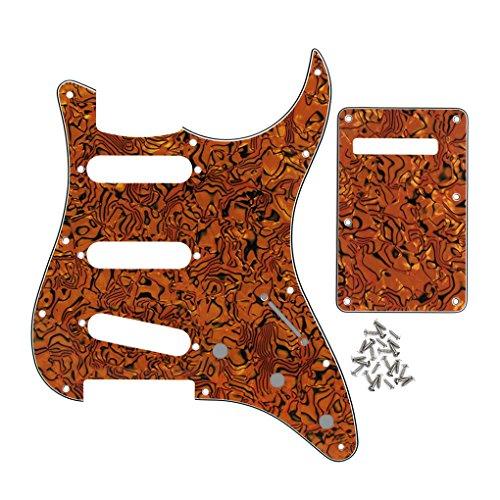 (IKN 11 Hole Strat Pickguard BackPlate with Screws Set for Standard Strat Modern Style Guitar Parts, 3Ply Tiger Stripe)