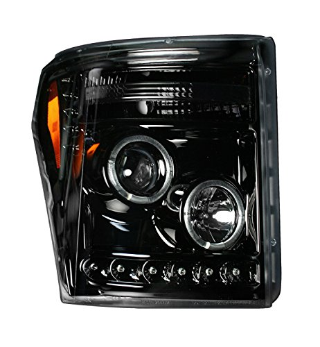 F550 Projector Headlights (Ford Superduty 11-15 F250/F350/F450/F550 PROJECTOR HEADLIGHTS w/ CCFL HALOS & DRL - Smoked / Black)